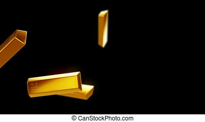 Gold bars or bullions flow with slow motion. Wealth and...