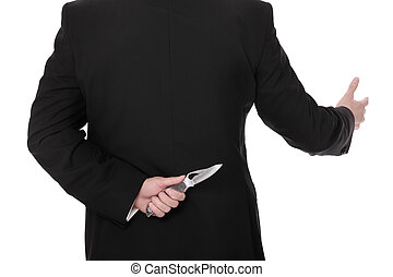 Tricky businessman - A picture of a businessman hiding a...