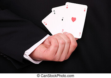 Playing cards - A picture of a young businessman hand...