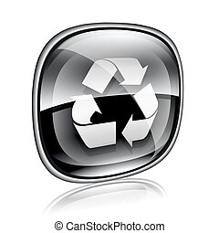 Recycling symbol icon black glass, isolated on white background.