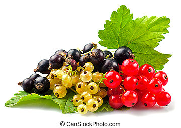 Currants isolated - Currants with green leafs isolated on...
