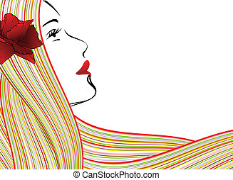 abstract woman face - abstract young woman face, red flower...