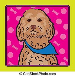 Cockapoo Cartoon - A cartoon image of an Cockapoo dog,...