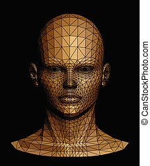 Human gold head. Vector illustration - Human head. Abstract...