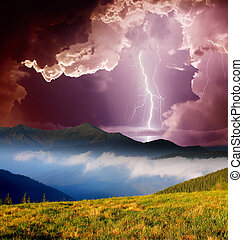 mountain landscape - Thunderstorm with lightning in mountain...