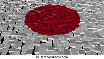 Japanese flag on blocks illustration