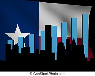 Houston skyline and graph over Texan flag illustration