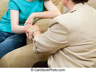Sympathy - Depressed girl gets counseling and comfort from a...