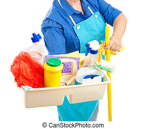Cleaning Supplies - Maid holding cleaning supplies. White...