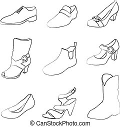 Men and women shoes silhouettes isolated on white...