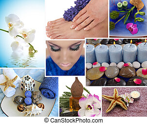 Spa Collage - Spa collage with aromatherapy, pedicure and...
