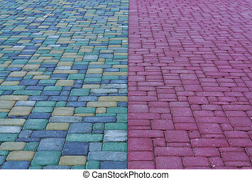 colored paving slabs and the leading line in the center