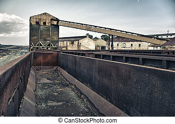 Mining industry - Abandoned facilities freight cars, old...