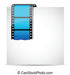 Film Stripe On Paper - illustration of film stripe on blank...