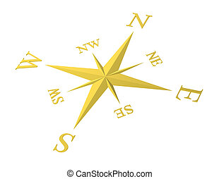 Compass rose. - A golden Compass rose. White background.