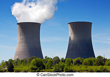Nuclear Power Plant - Two cooling towers at a nuclear power...