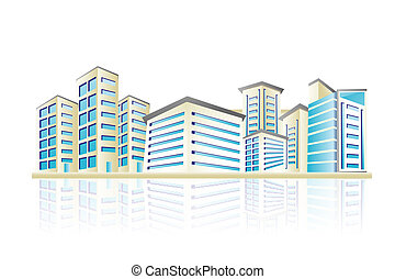 Building - illustration of cityscape with office building...