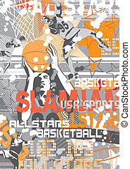 basket ball slam jam - illustration for poster and print