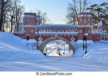 Brick arc in Tsaritsyno park in winter, Moscow Russia