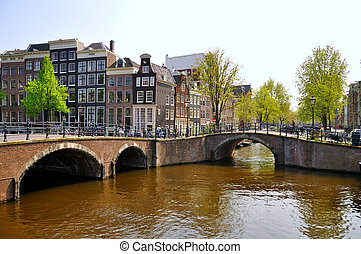 Beautiful river with 2 bridges in Amsterdam, Holland...