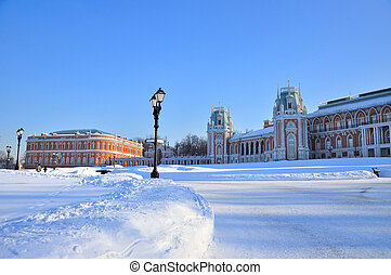 Brick palace in Tsaritsyno park in winter, Moscow Russia