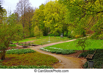 Trees and bushes in the garden near Men Monastery on a Frauenberg in Fulda, Hessen, Germany