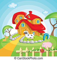 Farm House - illustration of farm house with pet animals in...