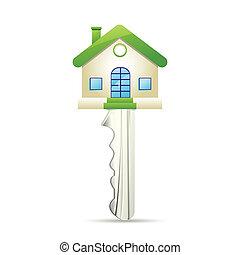 Dream House Key - illustration of dream house key on white...