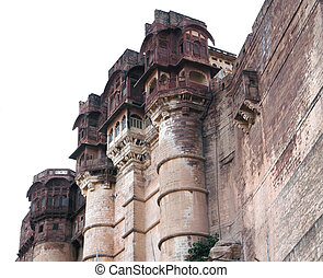 Mehrangarh Fort - detail of the Mehrangarh Fort located in...