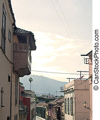 Orotava street with mountains in the background