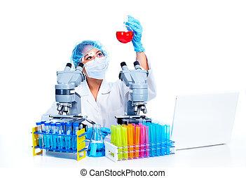 Scientific woman working in laboratory - Asian Scientific...