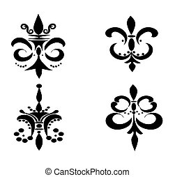 Set of Four Fleur De Liss - Black - Illustration of four...