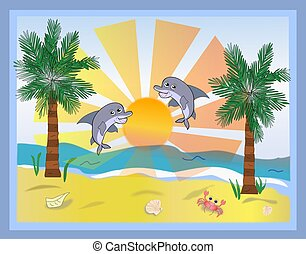 Beach Scene with Two Dolphins