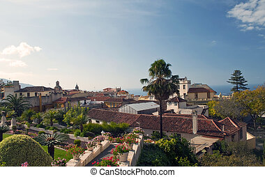 La Orotava valley - View from La Orotava valley gardens with...