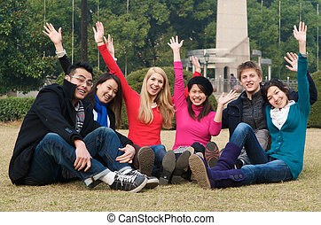 College Students Cheering - Group of 6 college students...