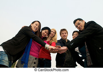 Group of Students team spirit