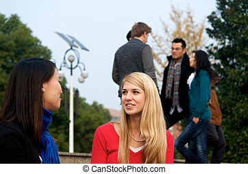 Students talking on campus - Female college students outdoor...