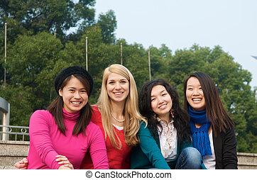 Happy female students