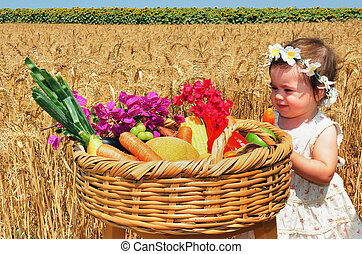 Jewish Holidays - Shavuot - Little girl with basket of the...