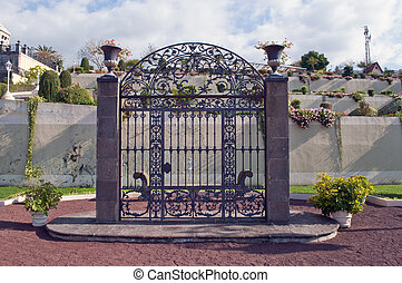 Iron gate into a garden of La Orotava