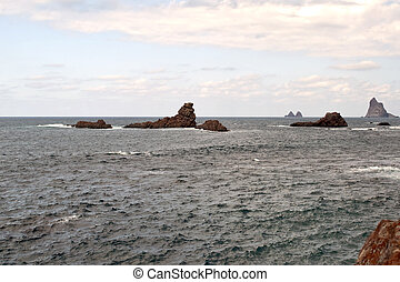 Sea with islets in the village of Tenerife called Taganana