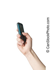 Hand holding a cell phone - A female hand holding a cell...