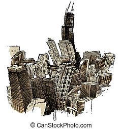 Wobbly Chicago - A wobbly illustration of the city of...