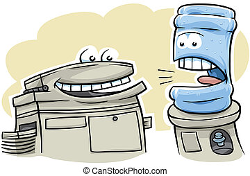 Watercooler Talk - A cartoon watercooler gossips with the...