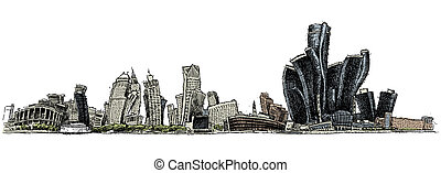 Wobbly Detroit - A wobbly illustration of the skyline of the...