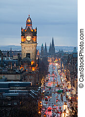 Edinburgh Clock Tower Scotland Dusk - Edinburgh with Clock...