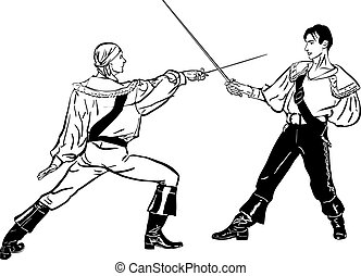 sketch of steam of fencers battle on a duel - a sketch of...