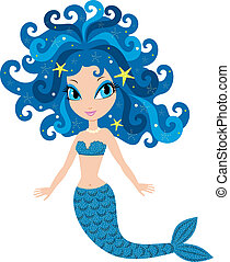 Mermaid cartoon - Vector illustration, color full