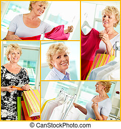 Shopping - Collage of aged woman shopping in clothing...