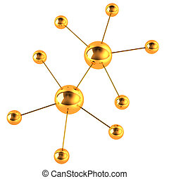 Gold model of a molecule on a white background